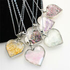 Natural Gemstones Heart Glass Crystal Wishing Bottle Chakra Pendant Necklace