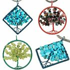 Peridot Turquoise Mix Stone Crystal Tree of Life Gemstone Pendant Fit Necklace