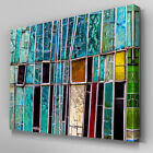 AB963 green blue mosaic glass green Canvas Wall Art Abstract Picture Large Print