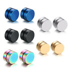 2pcs 8MM Magnetic Black Circle Stud Earrings for Men Women Non-Piercing Clip On