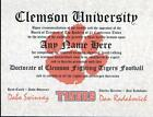 CLEMSON TIGERS ~ CERTIFICATE ~ DIPLOMA  ~ MAN CAVE ~ GREAT GIFT  FUN