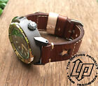 Handmade Vintage Brown Star Leather Watch Strap Band PAM or big watch.