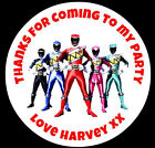 48 Personalised Power Rangers Round Boys Birthday Party Stickers Sweet Bag Seals
