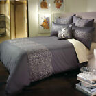 MADDOX Charcoal Gold Quilt Cover Set COTTON Sateen - QUEEN KING Cushion Cover