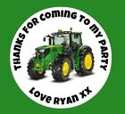 48 Personalised Round John Deere Tractor Birthday Party Stickers Sweet Cone Bag