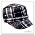 New *D&Y* STYLISH TARTAN PLAID MILITARY W/BUTTON CADET HAT -- BLACK/GRAY