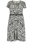Emily for Simply Be Plus Size Black White Dogtooth Print Skater Dress 16 - 26