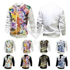 Fashion Men's Jackets Cotton Blend Floral Pattern Print Element Coats M-XXL