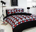 Rapport Conrad Red/Black/Grey/White Geometric Design Duvet Set S/D/K