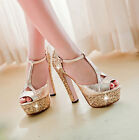 Bling Womens Hollow Out Summer Sandals T Strap Platform High Chunky Heel Shoes