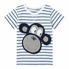 Bluezoo Kids Boys' White Striped Print Monkey Applique T-Shirt From Debenhams