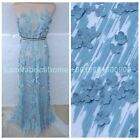 Sky blue/off white cotton 3D flowers clothing/ dresss  lace fabric by yard