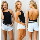 Women's Sexy Pop Club Backless Bodysuit Thong Sleeveless Cami Blouse Tank Tops Z