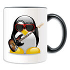 Personalised Gift Electric Bass Guitar Penguin Mug Money Box Cup Music Rock Band