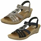 Ladies Rieker 62459 Grey Or Blue Synthetic Wedge Sandals
