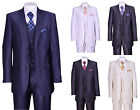 Men's 2 Button Solid Wool Feel Sharkskin Slim Fit Suits With Vest  Pants 5702V2
