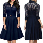 Fashion Womens 3/4 Sleeve Evening Party Cocktail Office Lace Midi Dress Belt P01
