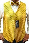 BOYS YELLOW MUSIC WAISTCOAT & BOW TIE SET ALL SIZES