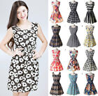 Women Casual Chiffon Sleeveless Sundress Floral Empire Waist Tank Mini Dress WY