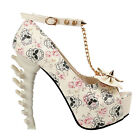 Sexy Skull The Pirates Ankle Strap Studs Chain Peeptoe Platform Bone Heel Pumps