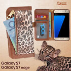 Leopard Zip Wallet Bag ID Card Flip Case Cover For Samsung Glaxy S7 S7 Edge