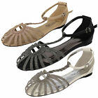 Ladies Spot On! F0762 Nude,Pewter Or Silver Sparkle Flat T-Bar Strappy Sandals