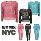 Ladies New York sweatshirt  jumper Loungewear Jogger Diamante Crop Top Tracksuit