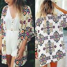 Womens Blouse New Chiffon Long Sleeve Ladies Top T shirt Loose GeometricTee TXST