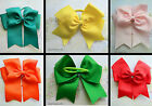 LARGE HAIR BOW  RIBBON PONY TAIL HOLDER 5 INCHES ELASTIC RED GREEN BLUE YELLOW