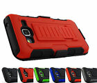 Samsung Galaxy J3 2016 Amp Express Prime Tank Armor Hybrid Case Cover+Holster