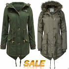 NEW LADIES WOMENS MILTARY JACKET HOODED FUR PARKA WINTER COAT TOP PLUS SIZE