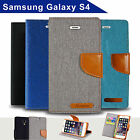 Denim Canvas Leather Wallet Case for Samsung Galaxy S4 Card Slots Cover