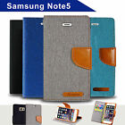 Denim Canvas Leather Wallet Case for Samsung Galaxy Note 5 Card Slots Cover