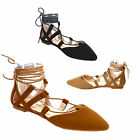Beston BB76 Women's Lace Up Pointed Toe Closed Back Gladiator Flat Sandals