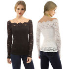 ISASSY Ladies T Shirt Long Sleeve Off Shoulder Lace Floral Loose Blouse Tube Top