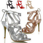 NEW WOMENS STRAPPY CUT OUT HIGH HEEL LADIES BACK LACE UP PEEPTOE SANDALS SHOES