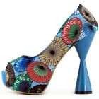 Pink/Blue Umbrella Print Open Toe Platform Cone Heels Pumps Size 4/5/6/7/8/9/10