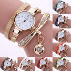 Women's Fashion Ladies Faux Leather Rhinestone Analog Quartz Wrist Watches Watch image