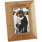 Personalised Auntie Wooden Oak Portrait Photo Frame, Engraved Gift