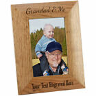 Personalised Grandad & Me Wooden Oak Portrait Photo Frame, Engraved Gift
