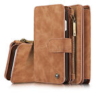 For iPhone 8 7 6S+PLUS Multi-Card 14 Slot Leather Wallet Folio Zipper Case Cover