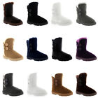 Womens 2 Button Classic Winter Snow Rain Cosy Fur Lined Warm Shoes Boots UK 3-10