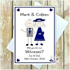 PERSONALISED WILL YOU BE OUR WITNESS CARD MALE FEMALE MULTI ANY WORDS ANY COLOUR