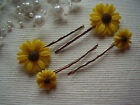 Yellow Sunflower Sun Flower Silver Hair Slides Grips Clips Gift Bagged