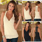 Women Lady Halter V-Neck Sleeveless Back Crochet  Lace Top Casual Party Clubwear
