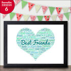 Personalised Gifts for Best Friend Present, Birthday, True Friendship Word Art