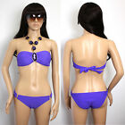 Women's Sexy Hot Swimsuit Top Set Swimwear Padded Bikini Halter - T28 Purple