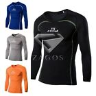 Men's Slim Tee Shirts Fit Muscle Elastic Basic Sports Long Sleeve Tops M-XXL