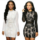 Sexy High Neck Lace Long Sleeve Mesh Slim Fit Bodycon Evening Party Mini Dress