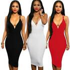 Sexy Double Straps Cross Back V Neck Slim Pencil Midi Formal Evening Party Dress